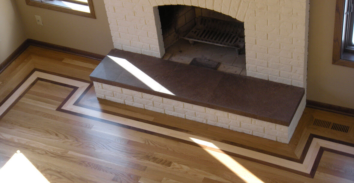 Bloomington fireplace and hardwood floor border